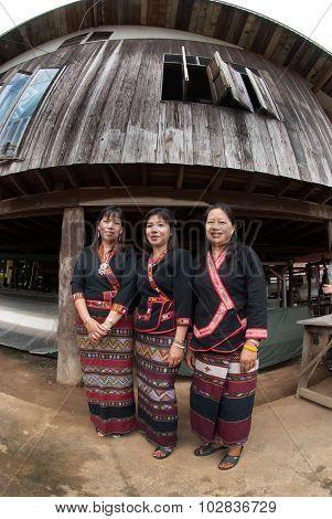 Senior Lua Hill Tribe Minority Posing Show Their Dresses.