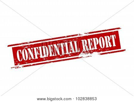Rubber stamp with text confidential report inside vector illustration poster