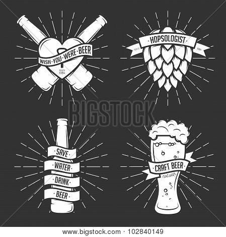 Set of t-shirt beer prints. Vintage vector illustration.