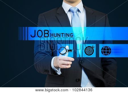 A Person In A Suit Is Pushing The Hologram Button Which Is Symbolised The Search. A Concept Of The J