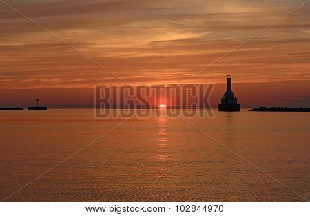 Sunset On A Great Lakes Harbor