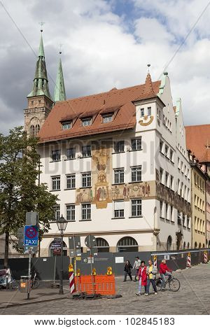 NUREMBERG, GERMANY -  SEPTEMBER 04, 2015: Photo of House with frescoed Waaggasse, 2.