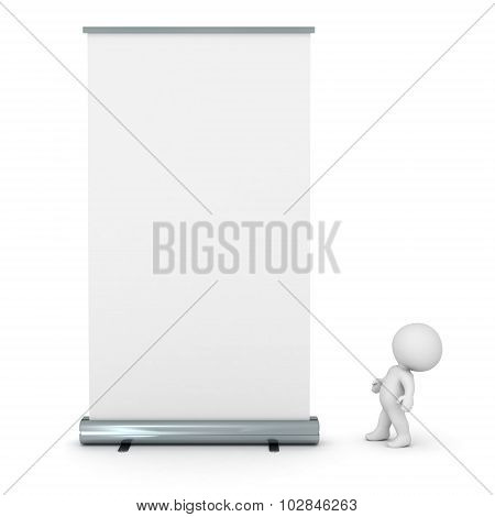 3D Character Looking Up At Large Rollup Poster