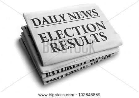 Daily news newspaper headline reading election results concept for outcome of referendum or vote poster
