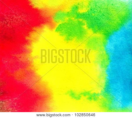Abstract Red-yellow-blue Watercolor Background