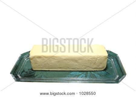 stick of butter isolated on a white background poster