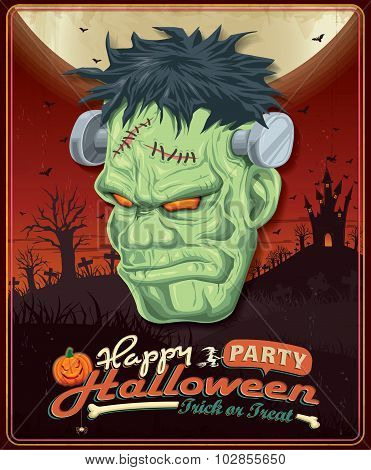 Vintage Halloween poster set design with frankenstein