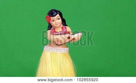 Hula Girl Doll Against Green Screen