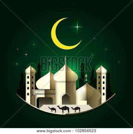 Eid Mubarak On Green Background. Vector Illustration.