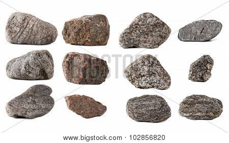 Big Collection Stones Isolated