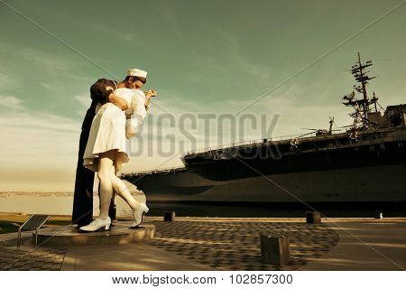 San Diego, CA - MAY 18: Unconditional Surrender sculpture at sea port on May 18, 2014 in San Diego. By Seward Johnson, the statue resembles the photograph of V day in Times Square