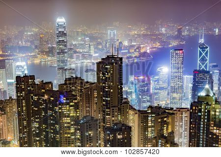Night view of the city in HONG KONG
