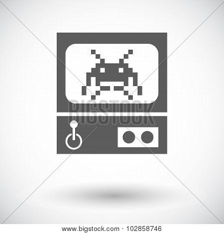 Retro Arcade Machine. Single flat icon on white background. Vector illustration. poster