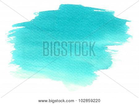 Cyan Watercolor Stain With Watercolour Paint Blotch And Strokes