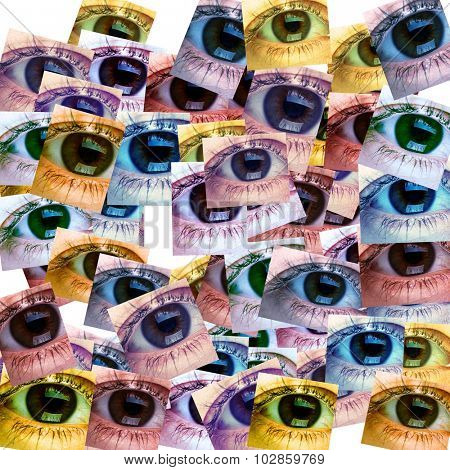 Beautiful young woman eye collage background. Optometry.