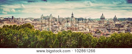 Panorama of the ancient city of Rome, Italy. As seen from Castel Sant'Angelo. Vintage
