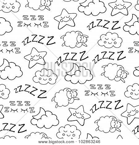 Sleep time sketch icons vector seamless pattern