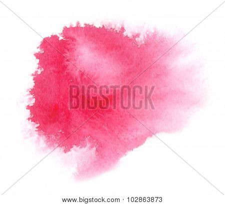 Bright Red Watercolor Stain With Watercolour Paint Stroke