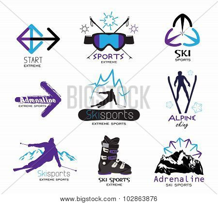 Set ski sport logos, emblems, labels.