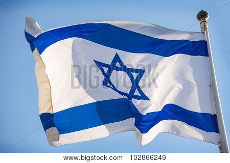 Israel Official Flag, Blue White With Magen David