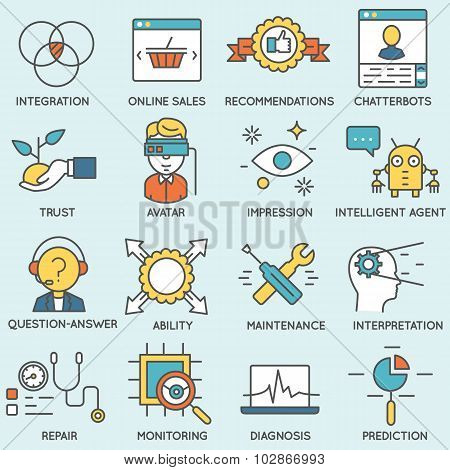 Vector Set Of Icons Related To Customer Relationship Management. Flat Line Pictograms And Infographi
