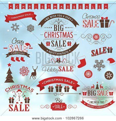 Christmas sale design set - labels, emblems