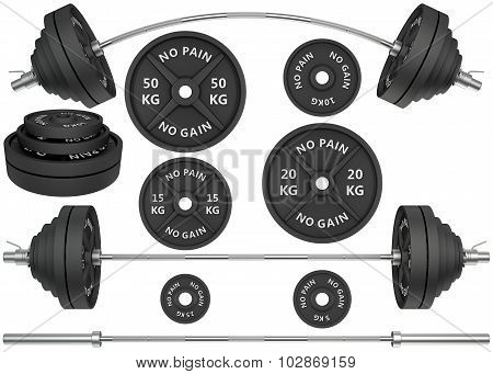3D Studio shots of a metal barbells and weights isolated on white background