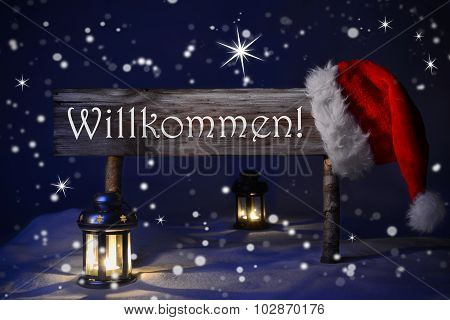 Christmas Sign Candlelight Santa Hat Willkommen Means Welcome