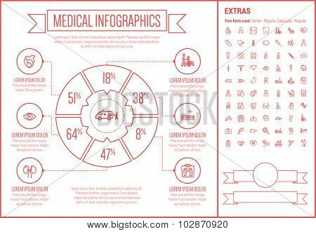 Medical infographic template and elements. The template includes the following set of icons - stethoscope, adhesive bandage, medical symbol, bacteria, medicine and cup and more. Modern minimalistic