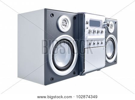 Compact stereo system cd and cassette player with radio isolated on white background poster