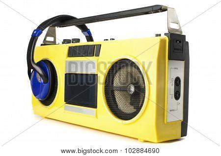 Retro Ghetto Blaster Yellow With Headphones