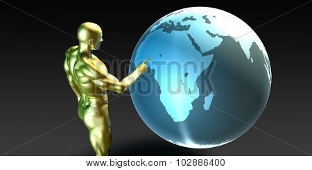 Businessman Pointing at Africa or African Business Investment