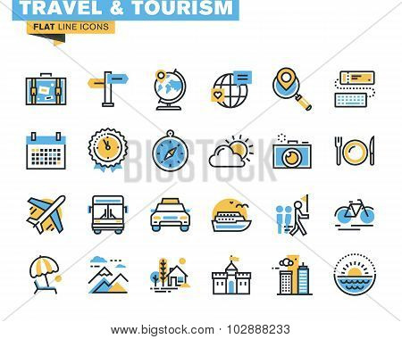 Flat line icons set of travel and tourism sign and object