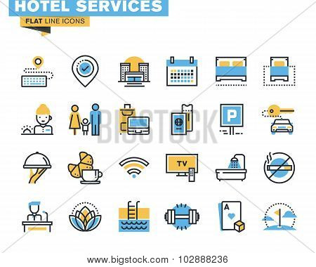 Flat line icons set of hotel service facilities
