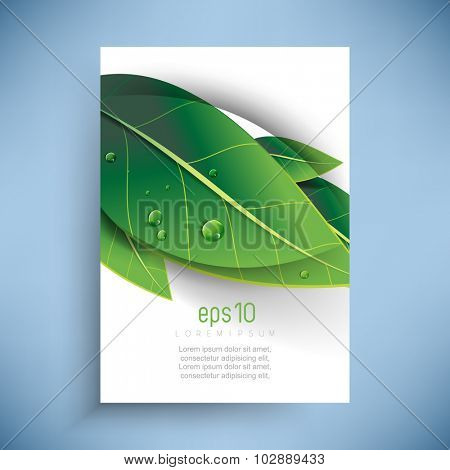 overlapping green leaves with dew drops nature ecology background design