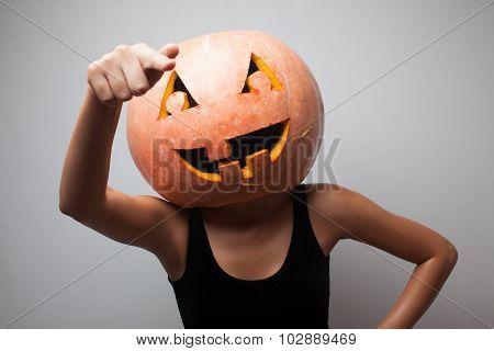 Dancing Halloween Go-go Dancer Girl. Grey Background. Idea For Halloween Poster, Placard, Affiche Or