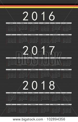 Set of black rectangle German 2016 2017 2018 year vector calendars. Week starts from Sunday. poster