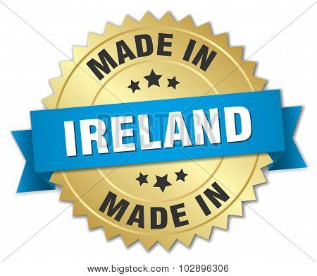 Made In Ireland Gold Badge With Blue Ribbon