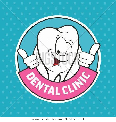 Dental emblem with funny teeth. Vector illustrations