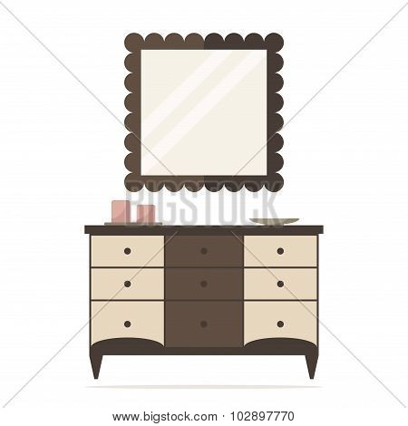 Chest of drawers isolated icon with mirror and decoration. Bedroom interior design.