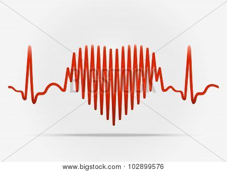 Red Heart With The Transition To Ecg With Shadow.