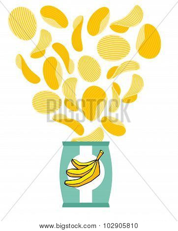 Banana chips. Fruit yellow chips. Packaging of snacks. Bundles of chips fly. Delicacy for vegetarians poster