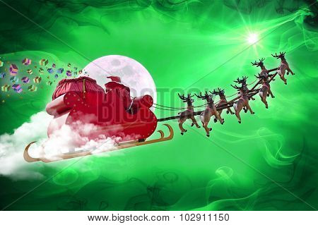 Santa Claus riding a sleigh led by reindeers delivering gifts