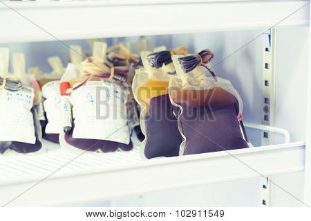 Blood Pouch In Refrigerator At Blood Bank