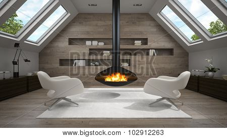 Interior of mansard room with fireplace 3D rendering