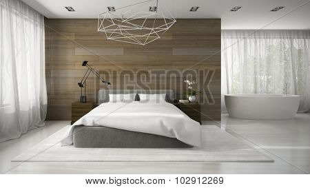 Interior of modern bedroom with bathtub 3D rendering
