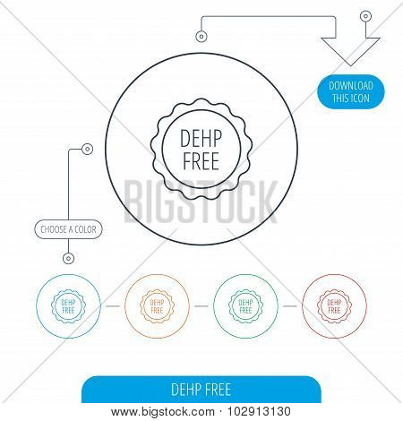 DEHP free icon. Non-toxic plastic sign. Line circle buttons. Download arrow symbol. Vector poster