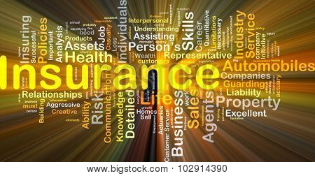 Background concept wordcloud illustration of insurance glowing light