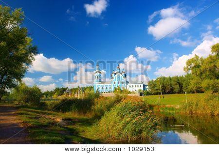 Church, Lake And Poplar Park