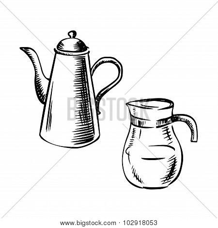 Elegant porcelain coffee pot with long spout and glass jug coffee pot in sketch style. For cafe or restaurant menu design poster